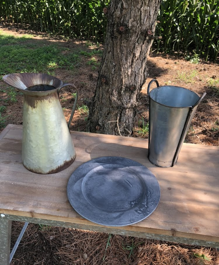Galvanized Pitcher, Charger, & Vase