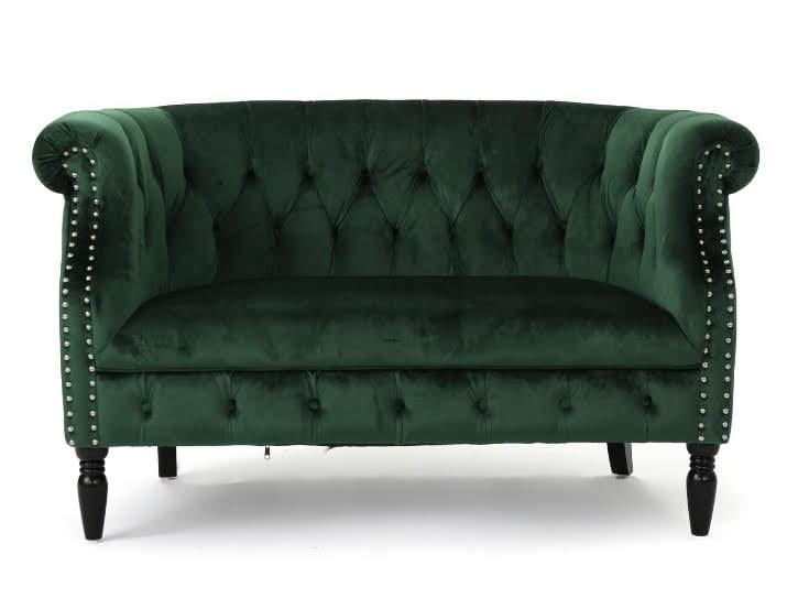 Velvet Emerald Settee