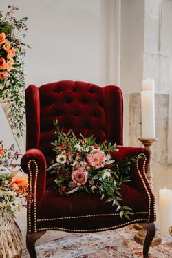Velvet Merlot Wingback Chair