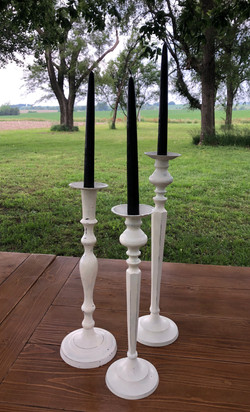White Taper Candle Holders