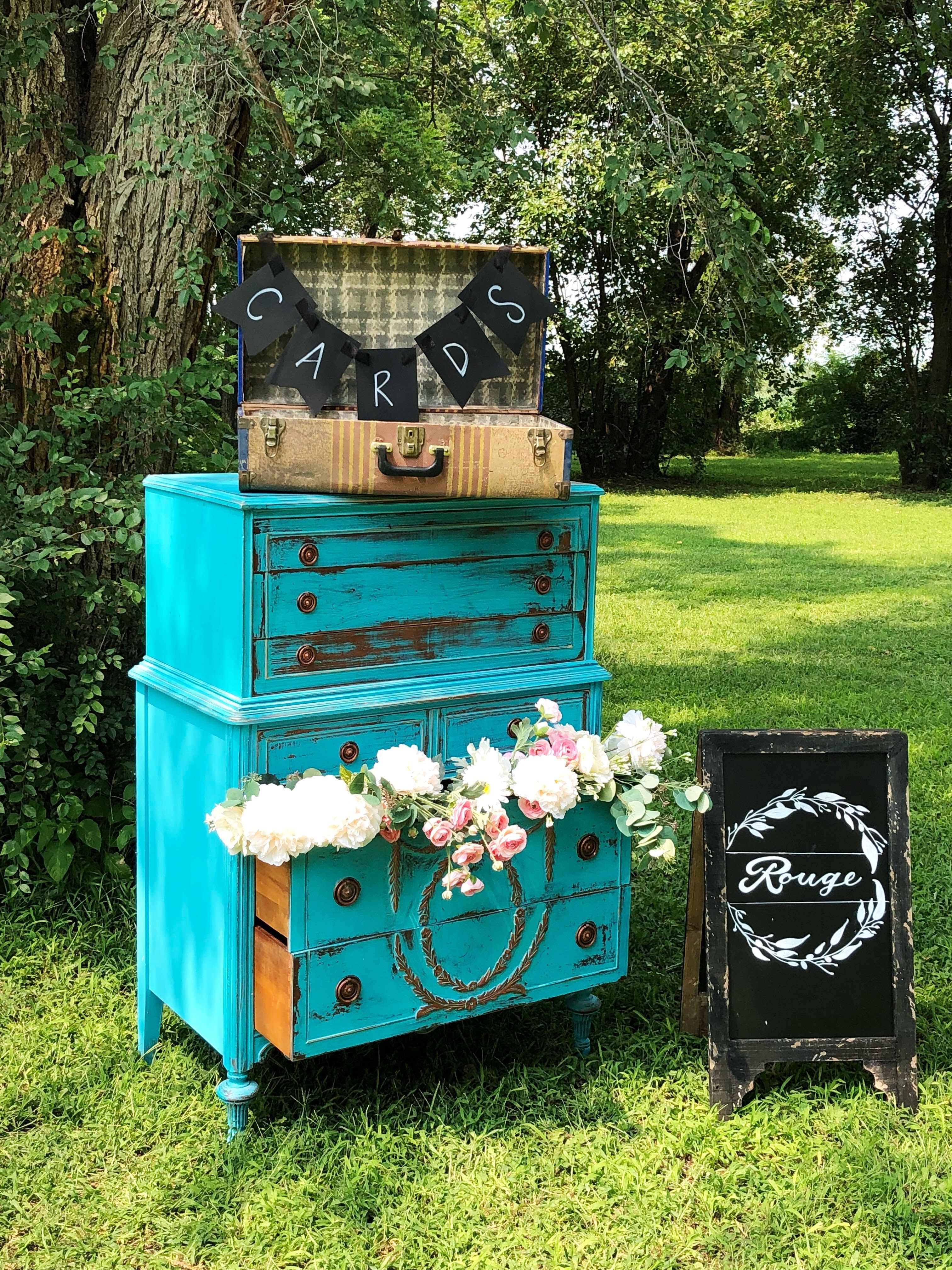 Card Suitcase & Turquoise Dresser