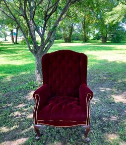 Velvet Merlot Winback Chairs - Set of 2