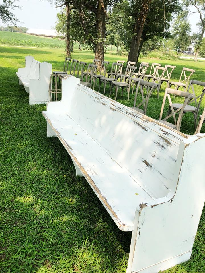 Whitewashed Pews & Vineyard Crossback Chairs