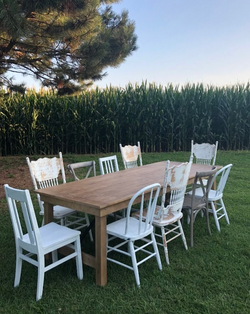 Pine Farmhouse Table & Mismatched Chairs