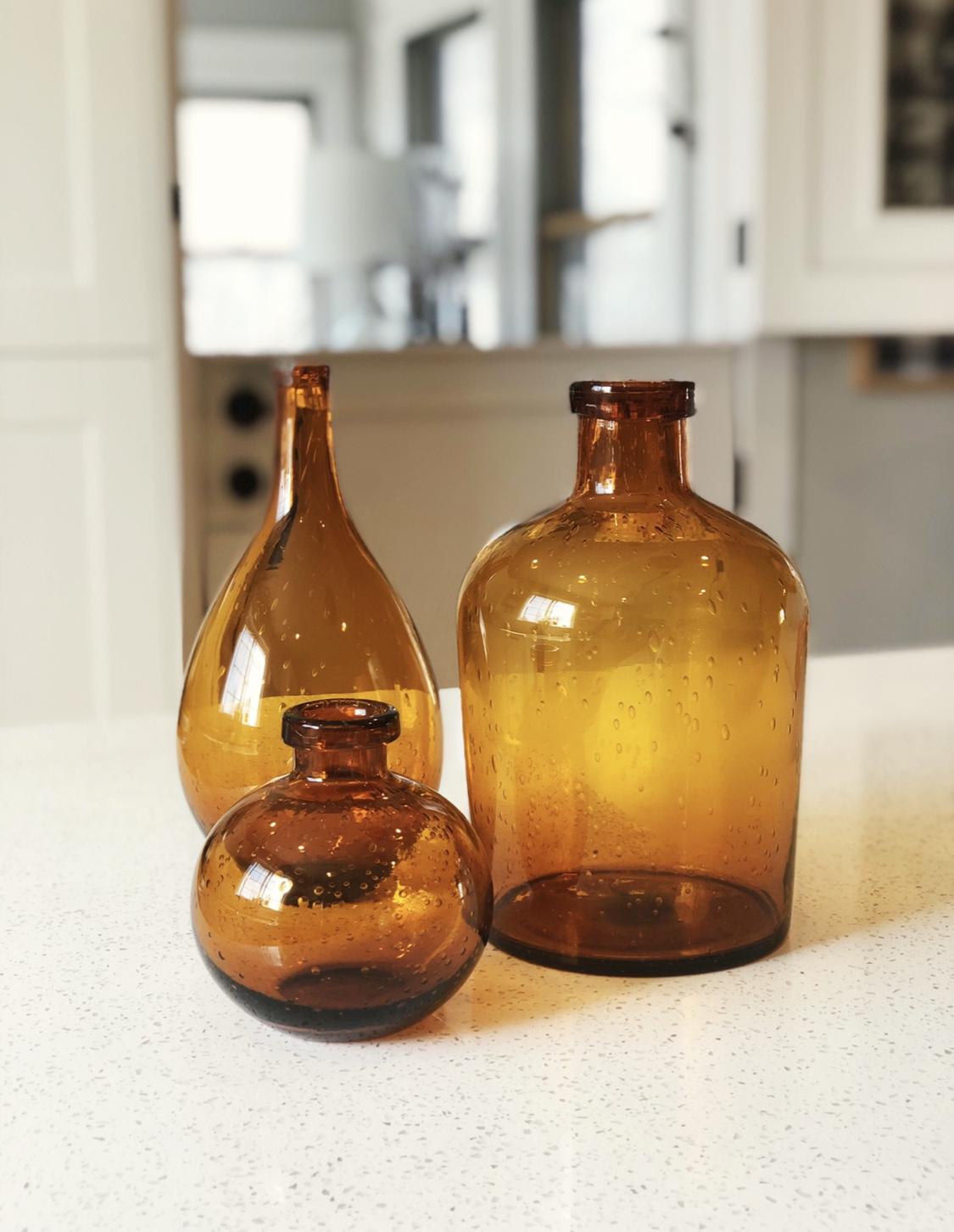 Large Amber Bud Vases
