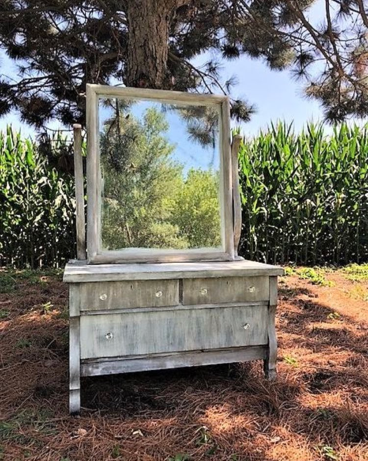 Antique Driftwood Mirrored Dresser