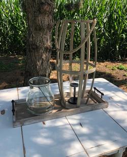 Glass Hurricane, Large Wood Lantern, & Wood Tray