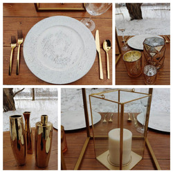 Gold Flatware, Whitewashed Chargers, Gold Mercury Glass Votives, Gold Vases, Gold & Glass Lanterns