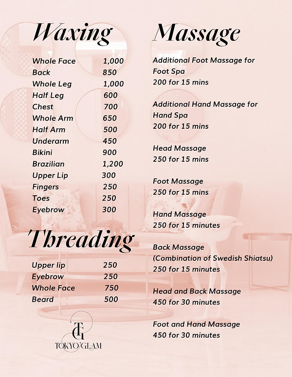 Tokyo Glam Waxing and Massage Service Price