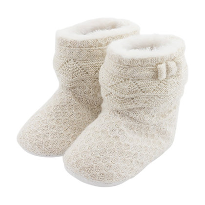 Knit Boots -Gold/White