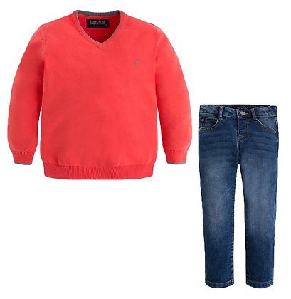 Red Sweater & Jeans