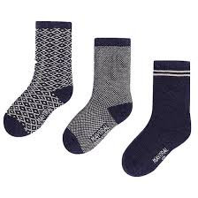 Navy Print Sock Set - 3PC