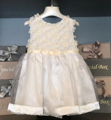 White & Ivory Flower Dress