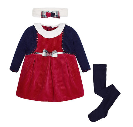 Red Plush Dress Set