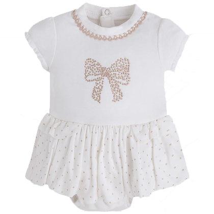 Ivory Bow Onesie w/Skirt