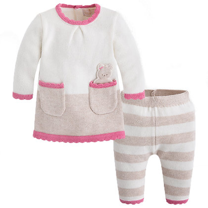 Knit Stripe Set - Rose