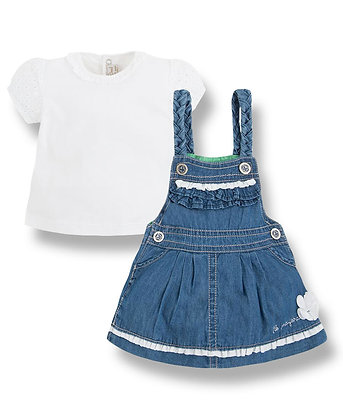 Denim Skirt Overall Set