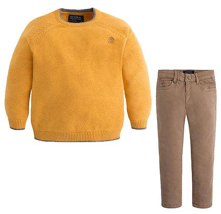 Mustard Sweater & Khakis