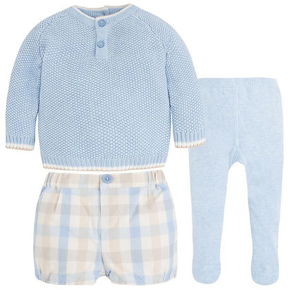 Sweater & Plaid Shorts Set