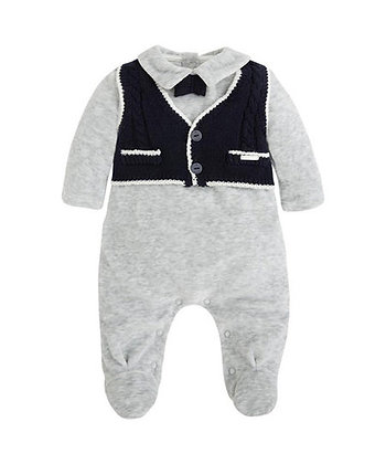 Knit Vest Romper Suit - Grey