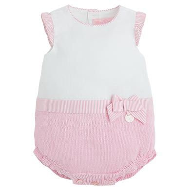 Knit Romper - Pink/Wh.