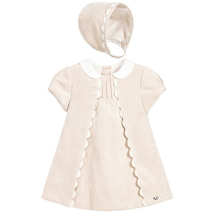 Scallop Bonnet Dress - Nude