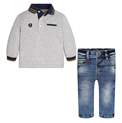L/S Polo & Denim Set