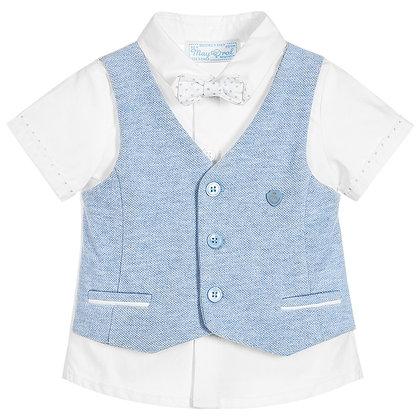 Shirt w/ Vest & Bowtie - Sky Blue