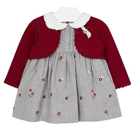 Embroidered Cardigan Dress - Grey