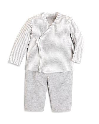 Simple Stripe Pant Set - Grey