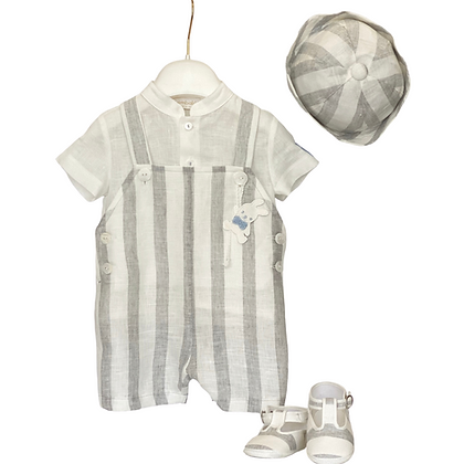 Linen Striped Romper Set