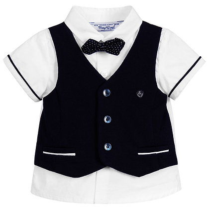 Shirt w/ Vest & Bowtie - Navy