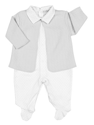 Cable Jacquard Footie Set - Gray