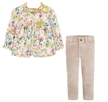 Floral Blouse & Pant Set