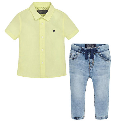 Lime Button Down w/ Jeans