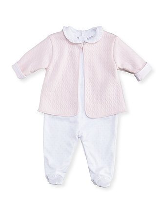 Cable Jacquard Footie Set - Pink