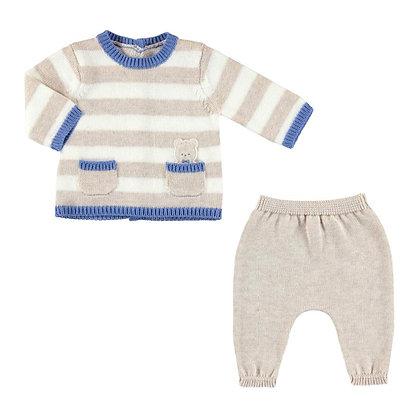 Knit Stripe Set - Blue