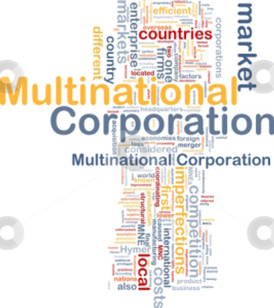 Background concept wordcloud illustration of multinational corporation