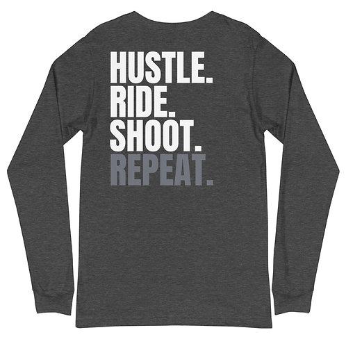 Hustle Ride Shoot Repeat Unisex Long Sleeve Tee