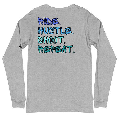 Ride Hustle Shoot Repeat Unisex Long Sleeve Tee