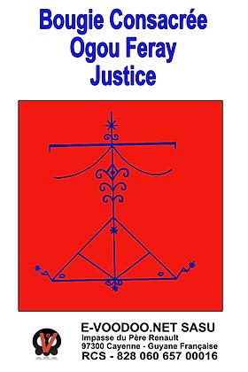 Bougie Consacrée Ogou Feray pour la Justice sur mesure