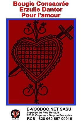 Bougie Consacrée Erzulie Dantor pour l'amour sur mesure
