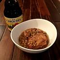 ベルギービールで煮込んだレンズ豆と豚バラの角煮
