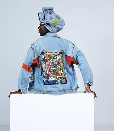 """""""Sankofa"""" hand-painted denim jacket"""