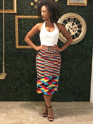 AMA Multi-color kente pencil skirt