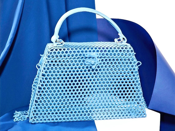 Alana in Ice Blue with leather handle