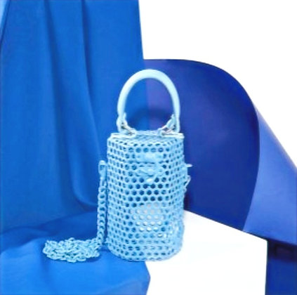 Mini Buckie in Ice Blue with leather handle