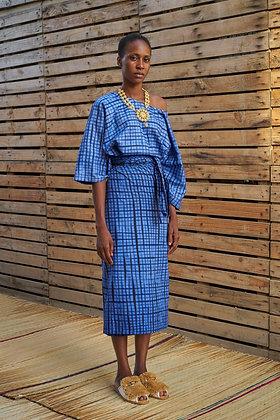 Check Tie-Dye Boubou Dress -AW19