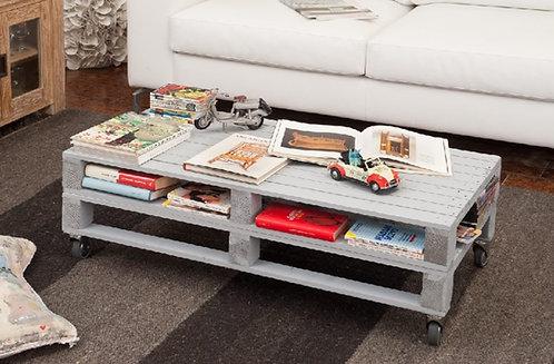Tavolino PALLET rettangolare laccato grigio chiaro