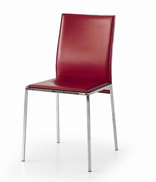 Sedia BIBO in cuoio rosso